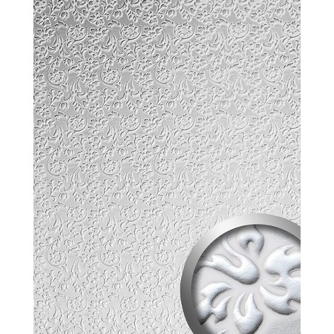 Panel decorativo autoadhesivo polipiel diseño flores WallFace 13414 FLORAL barrocas relieve 3D blanco plata 2,60 m2