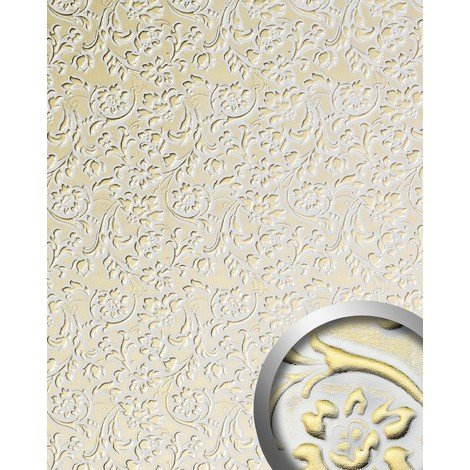 Panel decorativo autoadhesivo polipiel diseño flores WallFace 13415 FLORAL barrocas relieve 3D blanco oro 2,60 m2