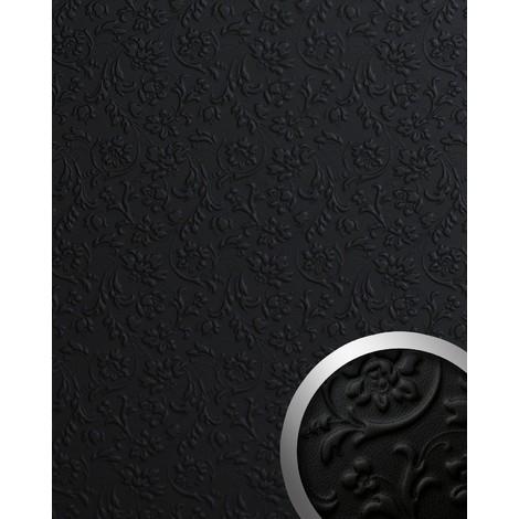 Panel decorativo autoadhesivo polipiel diseño flores WallFace 13472 FLORAL barrocas relieve 3D negro 2,60 m2