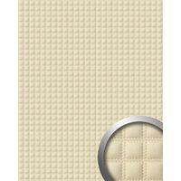 Panel decorativo autoadhesivo polipiel WallFace 14277 QUADRO acolchada cuadrados pespunte de imitación crema 2,60 m2