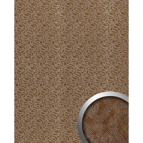 Panel decorativo autoadhesivo WallFace 14302 ELEGANZA diseño piel de ante puntitos metálicos deco marrón plata 2,60 m2