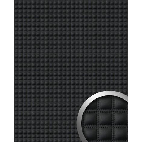 Panel decorativo autoadhesivo WallFace 15032 QUADRO polipiel acolchada cuadrados pespunte de imitación negro 2,60 m2