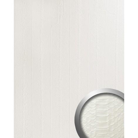 Panel decorativo autoadhesivo WallFace 15043 SNAKE de diseño piel de serpiente con relieve color blanco mate 2,60 m2
