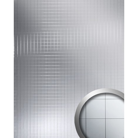 Panel decorativo de lujo WallFace 14279 M-Style Revestimiento mural autoadhesivo Mosaico espejado plateado 2,60 m2