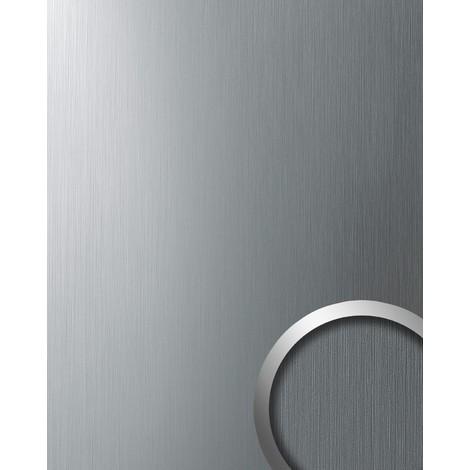 Panel decorativo WallFace 10298 DECO Autoadhesivo resistente al rallado aspecto metal cepillado plata 2,60 m2