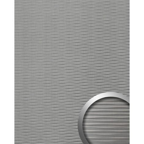 Panel decorativo WallFace 15681 MOTION TWO autoadhesivo con ranuras horizontales acero inoxidable cepillado 2,60 m2