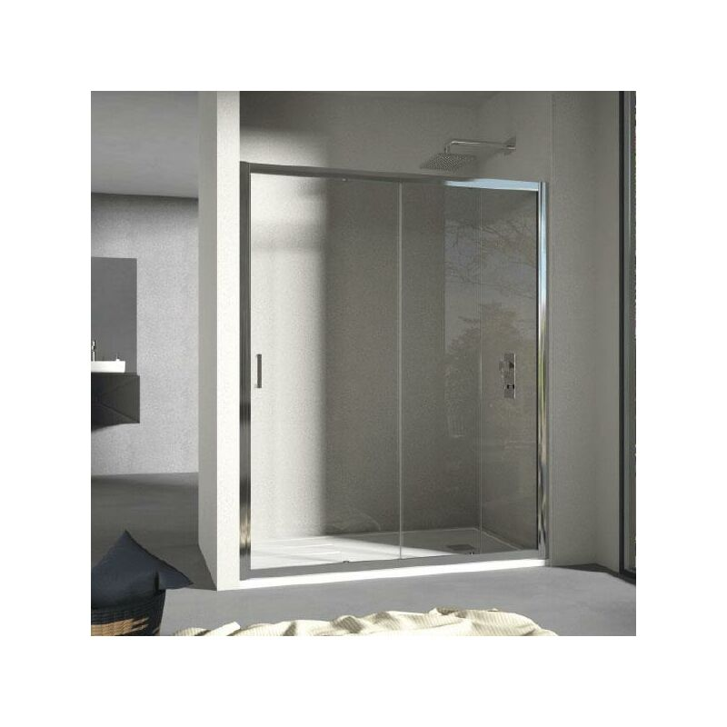 Mundilite - Panel Fijo + Puerta Corredera GRANT SIN DECORADO 160 cm Lateral fijo: 70 cm