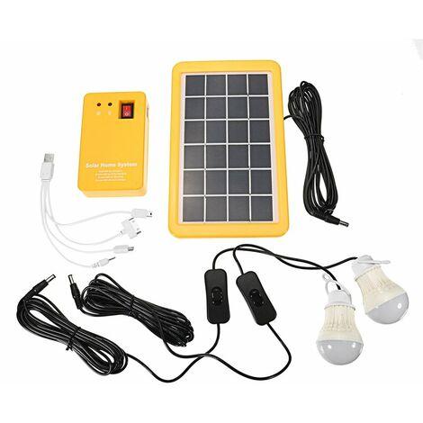 Panel Generador Sistema Solar Cargador Teléfono USB 3W +2 Bombillas LAVADAS