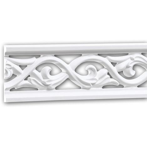 Panel Moulding 151364 Profhome Dado Rail Decorative Moulding Frieze Moulding Rococo Baroque style white 2 m