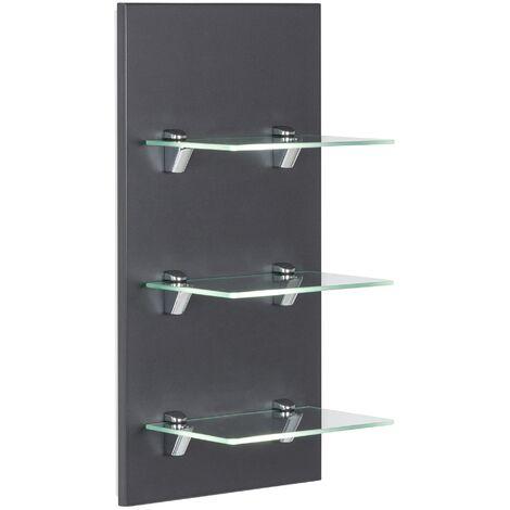 Panel SANTINI estantería de baño Antracita satinado con 3 estantes de cristal