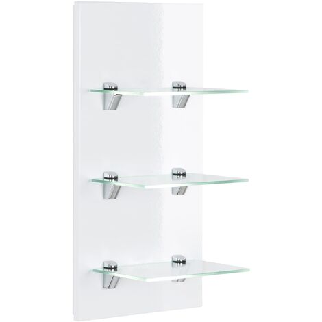 Panel SANTINI estantería de baño blanca brillo intenso con 3 estantes de cristal