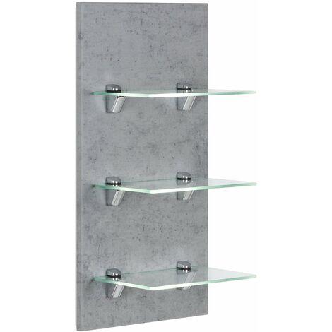 Panel SANTINI estantería de baño Gris hormigón con 3 estantes de cristal