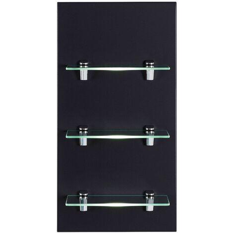 Panel SANTINI estantería de baño Negro satinado con 3 estantes de cristal