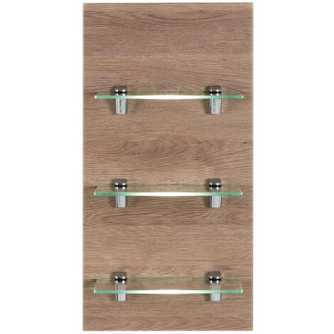 Panel SANTINI estantería de Roble claro con 3 estantes de cristal