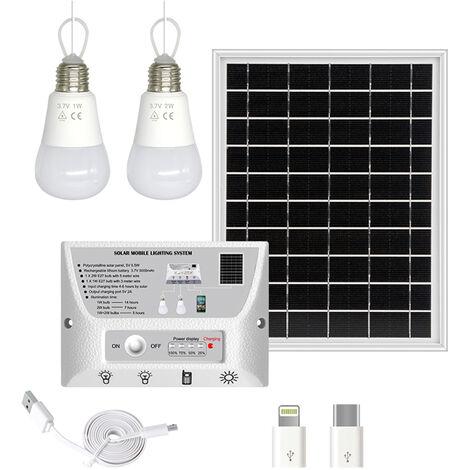 Panel solar de 5,5 W, bombillas LED de 1 W y 2 W, controlador de 5000 mAh, con puerto de carga para telefono