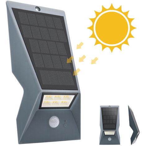 Panel solar de la lampara de pared IP65 Tres modos de iluminacion, gris oscuro