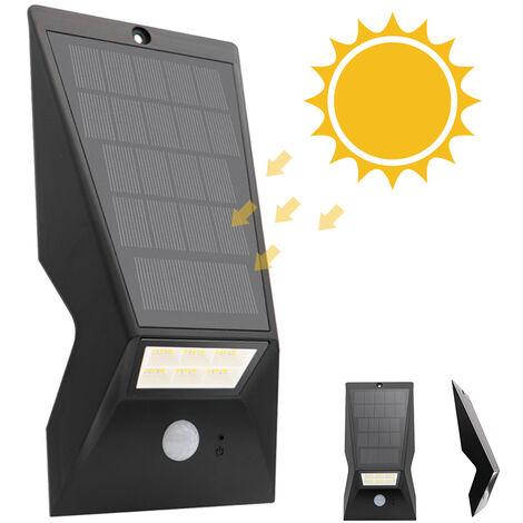 Panel solar de la lampara de pared IP65 Tres modos de iluminacion, Negro