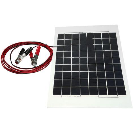 Panel solar de resina epoxi transparente policristalina de 12 V 10 W 38 X 22 CM, con cable de pinza de cocodrilo