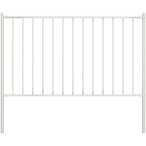 Panel valla y postes acero recubrimiento polvo blanco 1,7x0,75m