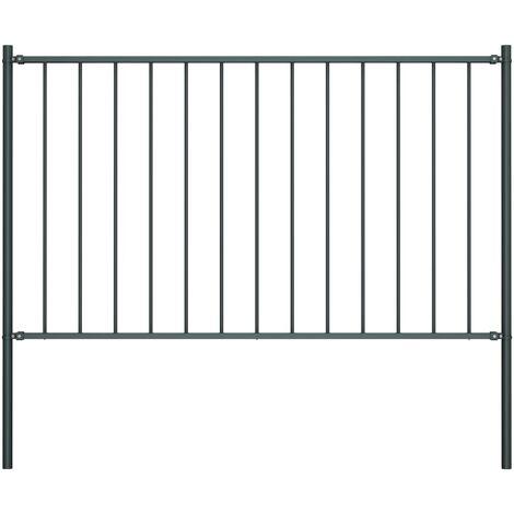 Panel valla y postes acero recubrimiento polvo gris 1,7x0,75 m