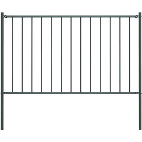 Panel valla y postes acero recubrimiento polvo gris 1,7x1,25m