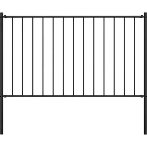 Panel valla y postes acero recubrimiento polvo negro 1,7x0,75 m