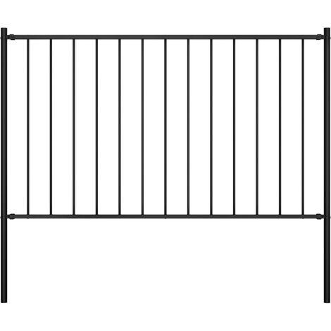 Panel valla y postes acero recubrimiento polvo negro 1,7x1,25m
