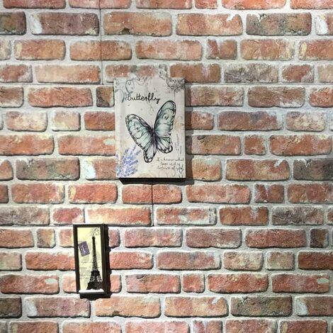 Paneles de pared 3D con diseño de ladrillo rojo 11 piezas EPS