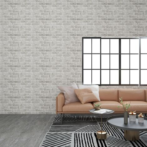 Paneles de pared 3D diseño de ladrillo gris claro 11 piezas EPS