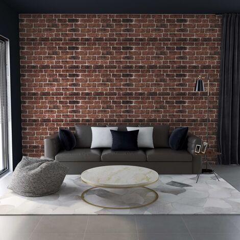 Paneles de pared 3D diseño ladrillo marrón oscuro 11 pzas EPS