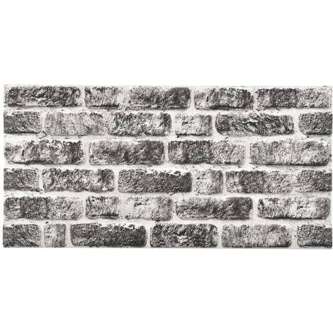 Paneles de pared 3D ladrillo gris oscuro y gris 11 pzas EPS
