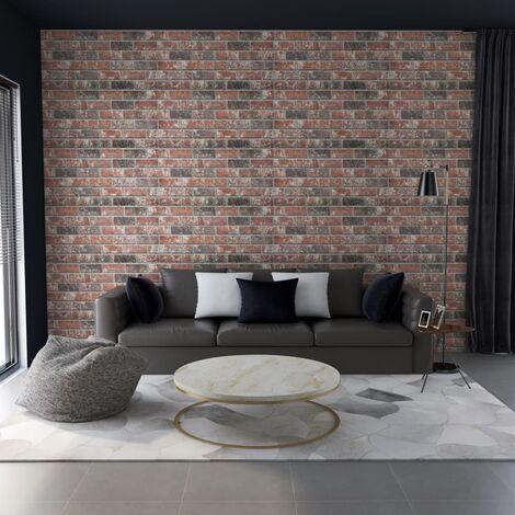 Paneles de pared 3D ladrillo marrón oscuro y gris 11 pzas EPS