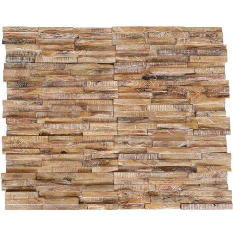 Paneles de revestimiento de pared 3D 10 piezas teca maciza 1 m² - Marrón