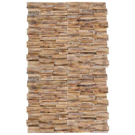 Paneles de revestimiento de pared 3D 20 uds teca maciza 2 m² - Marrón