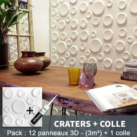 Paneles decorativos 3D Craters Panel de pared + Pegamento WallArt