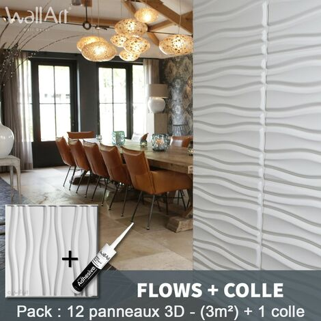 Paneles decorativos 3D Flows Panel de pared + Pegamento WallArt