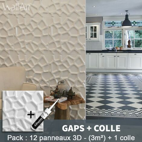 Paneles decorativos 3D Gaps Panel de pared + Pegamento WallArt