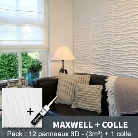Paneles decorativos 3D Maxwell Panel de pared + Pegamento WallArt