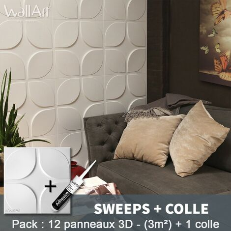 Paneles decorativos 3D Sweeps Panel de pared + Pegamento WallArt
