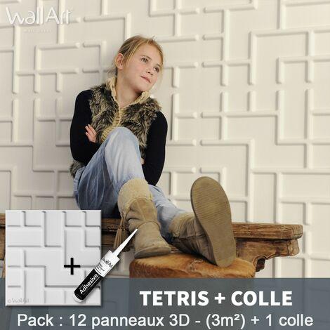 Paneles decorativos 3D Tetris Panel de pared + Pegamento WallArt