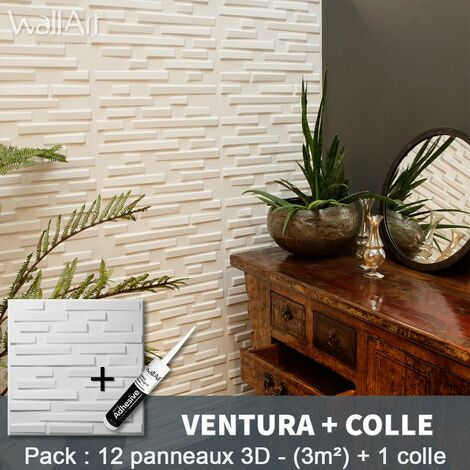 Paneles decorativos 3D Ventura Panel de pared + Pegamento WallArt