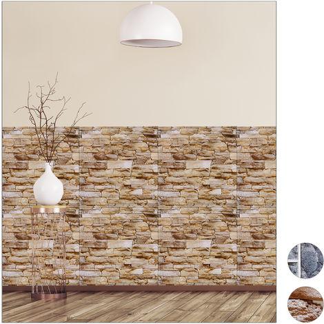 Paneles Pared Autoadhesivos, Pack 10, Imitación Piedra 3D, Revestimiento Decorativo, PVC, 50 x 50 cm, Marrón