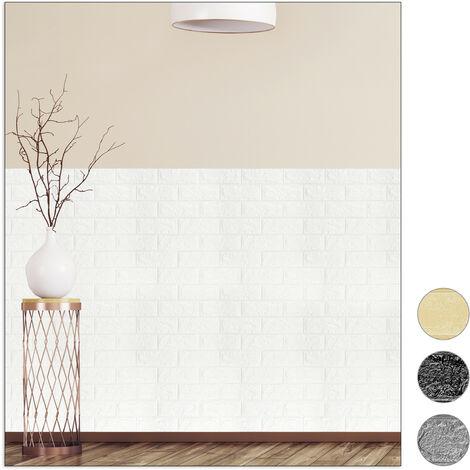 Paneles Pared Autoadhesivos, Pack 10 Unidades, Imitación Ladrillo 3D, Espuma de Polietileno, 78x70cm, Blanco