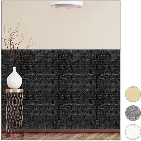 Paneles Pared Autoadhesivos, Pack 10 Unidades, Imitación Ladrillo 3D, Espuma de Polietileno, 78x70cm, Negro