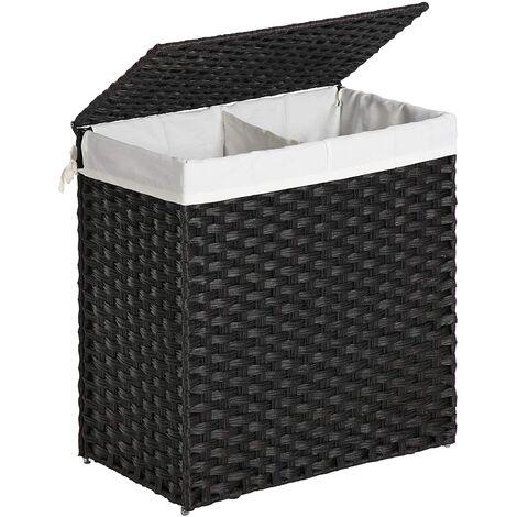 Panier à linge double 60 x 57 cm rotin synthétique noir - Noir