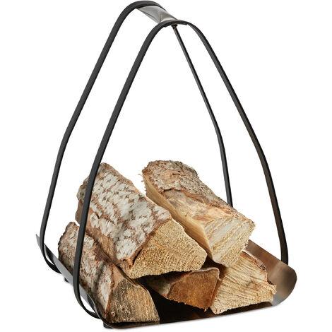 Panier à bois, métal, avec poignée, rangement pour l'intérieur, porte-buches, HLP 49x36x35 cm, argenté/noir