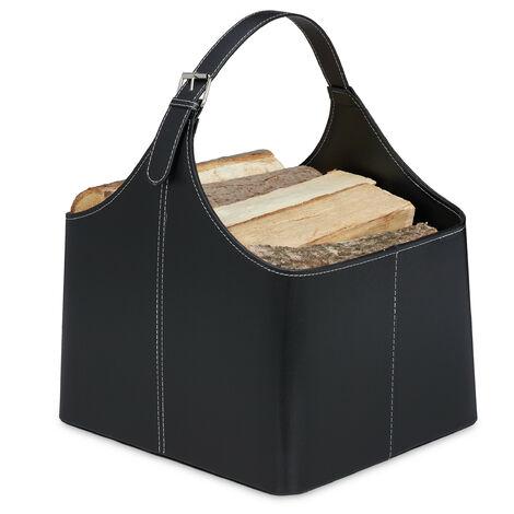 Panier à bois, range-buches similicuir, rangement & transport, porte-revues, anse, accessoire cheminée, noir