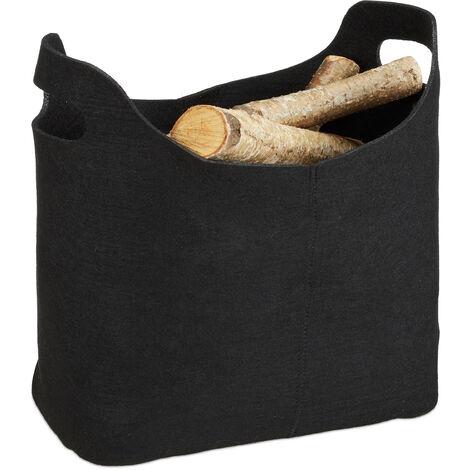 Panier à bûches de bois en feutre, HxlxP: 39,5 x 40 x 23 cm, 2 poignées, pliable, porte-revues, noir