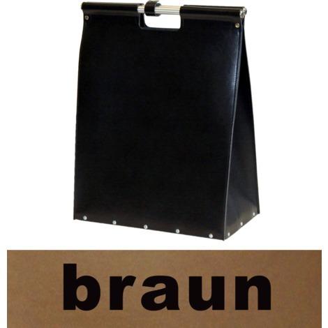 Panier à bûches en cuir brun avec poignées anthracite