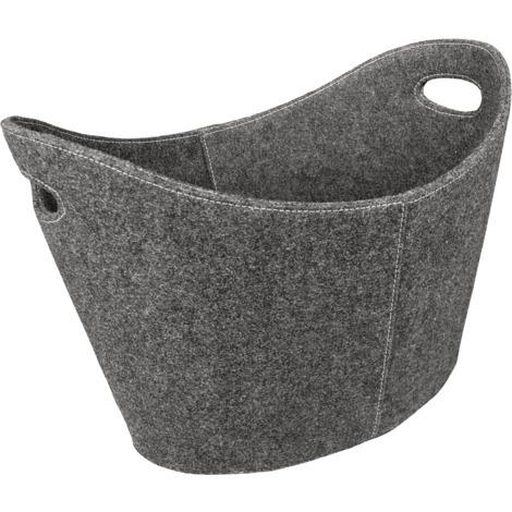 Panier à bûches en feutre gris